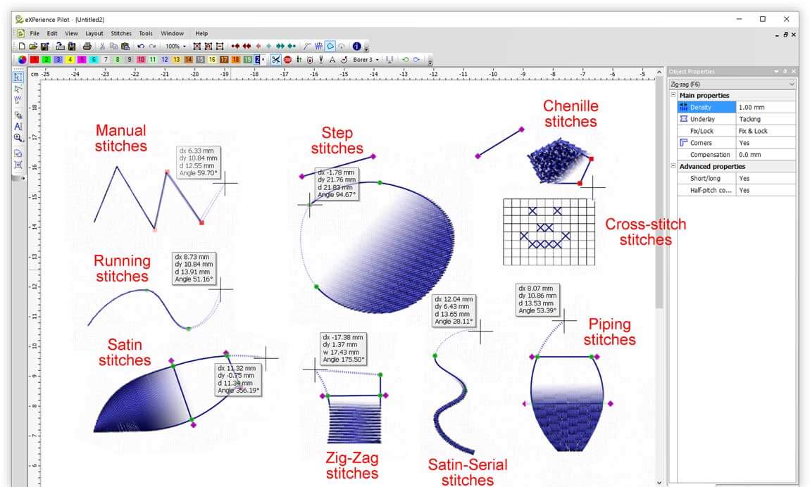 Create designs (digitize) with the available stitch types, easily