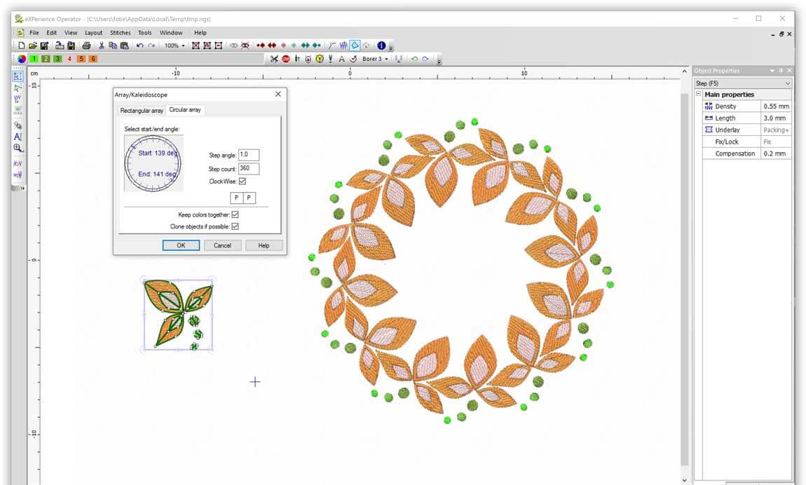 Create designs with Circular array tool easily