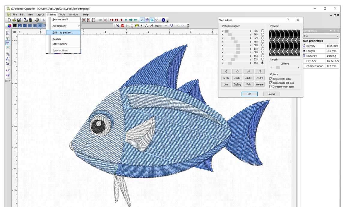 Edit step pattern on stitch files like .dst